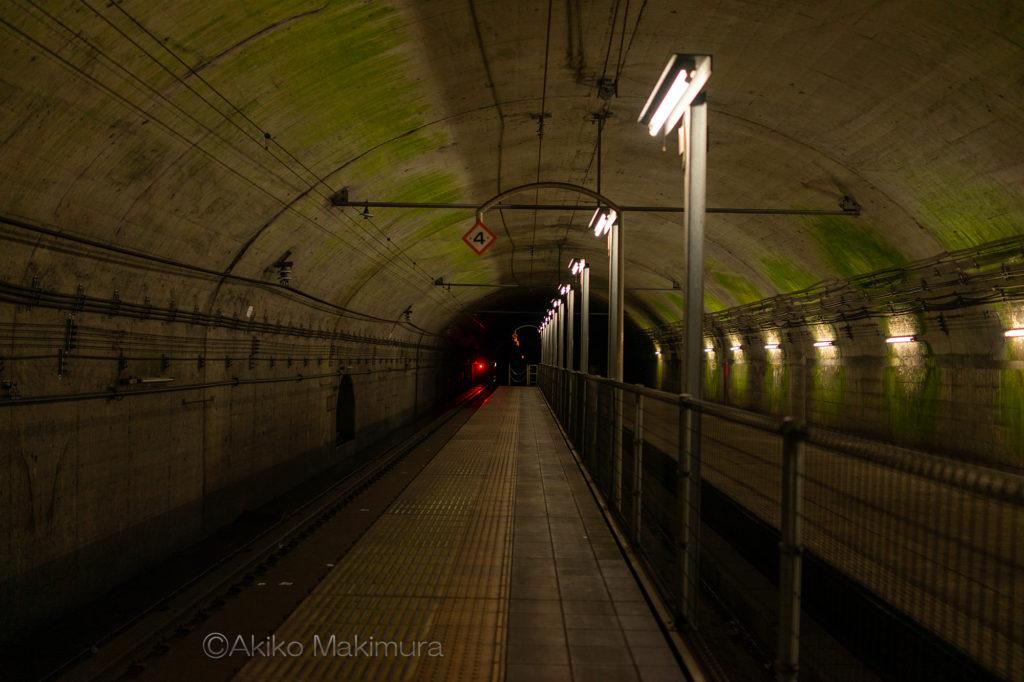 日本一のモグラ駅、上越線土合駅の下りホーム